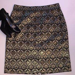 Alex&Marie gold & black brocade pencil skirt sz14